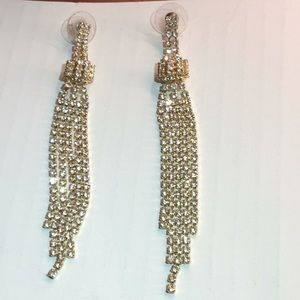 Gold plated Crystal hanging earrings